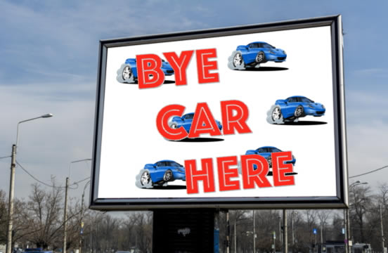 billboard that says Bye Car Here, and the word buy is misspelled b-y-e