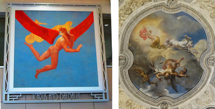 Two versions of Daedalus and Icarus flying