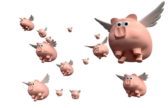 cartoon of flying pigs with wings
