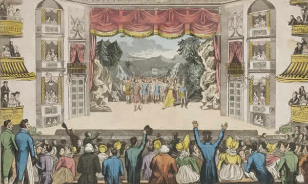 print of a British theater production and audience in 1821