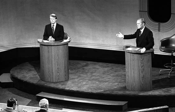 presidential candidates Jimmy Carter and Gerald Ford during a campaign debate, 1976