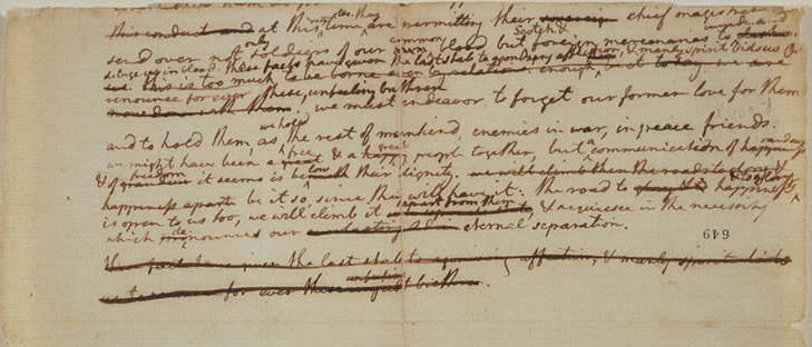 Revisions to a draft of the Declaration of Independence