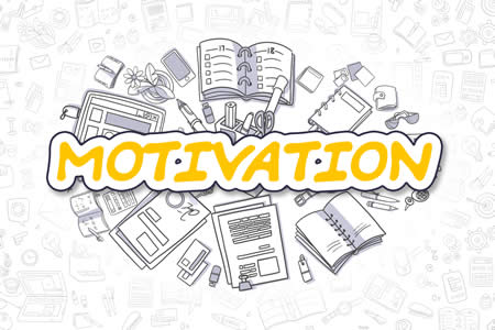 "sign saying ""Motivation"" with a background of school supplies"
