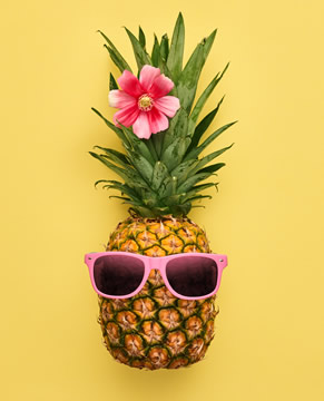 "a pineapple with pink sunglasses and a flower in her ""hair"""