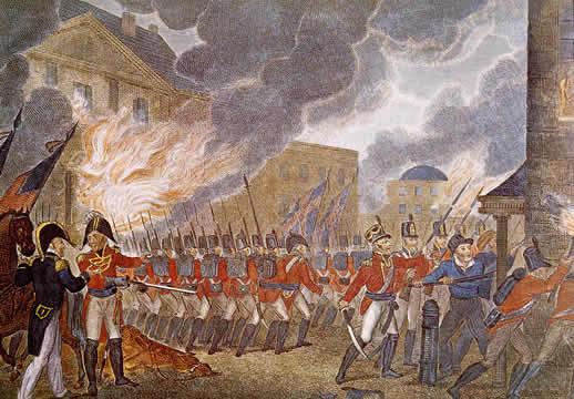 British troops burning Washington, D.C. during the war of 1812