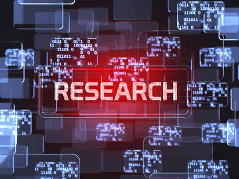 the word Research against a background of binary codes