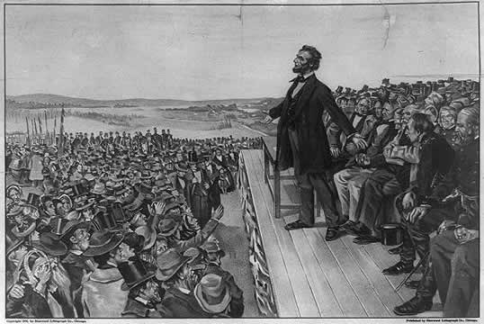 Abraham Lincoln giving a speech in front of a crowd at Gettysburg National Cemetery