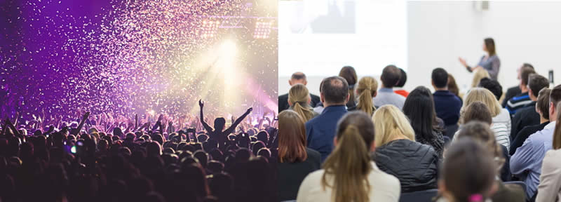 left: audience at a rock concert; right: audience at a business lecture
