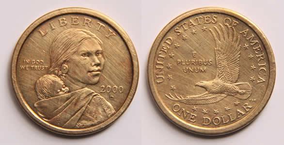 U.S. Dollar Coin with Sacajawea on the heads side