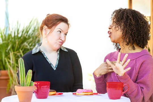 """conversation where the listener's facial expression says """"I don't think so"""""""