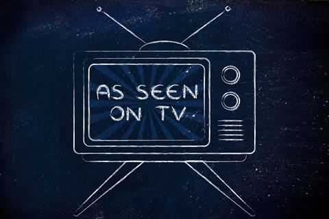 """cartoon of a television with the message """"As seen on TV"""""""