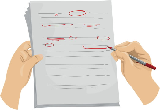 Hands editing a page of text