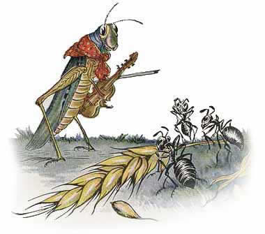 The grasshopper and the ants talking
