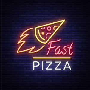 neon sign for pizza parlor