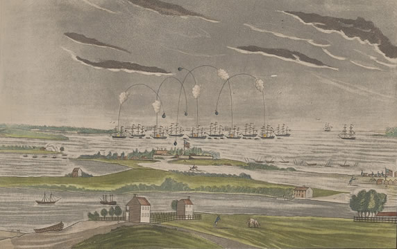Painting of the bombs bursting in air over Fort McHenry