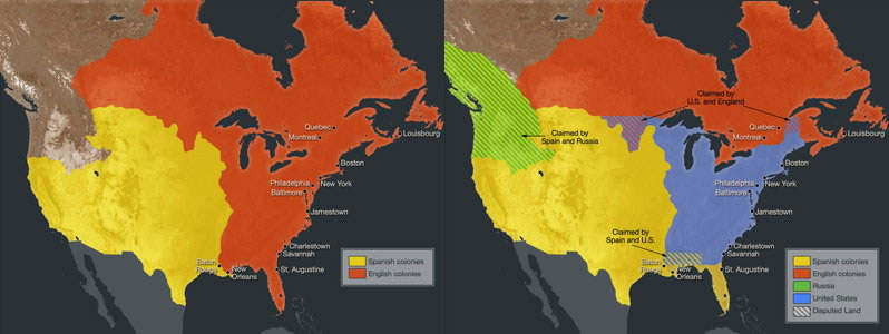 A map of Before the Revolutionary War (1775) and After the Revolutionary War (1778)