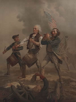 a fife and drum trio marching in battle, with American flag flying in background