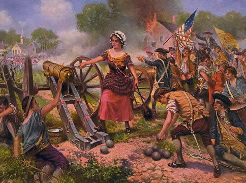 A woman firing a cannon, with American revolutionary soldiers behind her