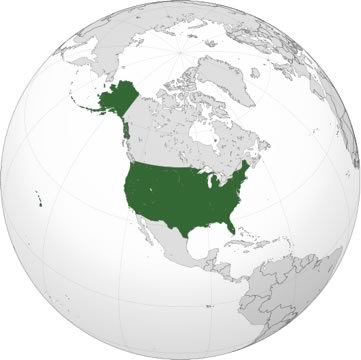 globe shown from a northern angle, with the United States marked in green