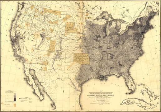 a map showing where people lived in the US in 1870, Indian Territory is also marked