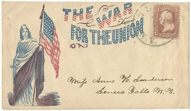 "An old envelope from Civil War times with lady Columbia holding a U.S. flag and the text ""The War for the Union"" on it, addressed to someone in Seneca Falls, N.Y. and bearing a 3-cent stamp"