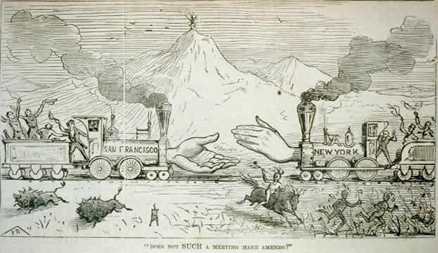a cartoon showing a train traveling westward marked New York and a train traveling eastward marked San Francisco, with people cheering and shaking hand; in the foreground Indians and buffalo are running away from the trains