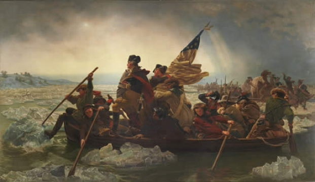 painting of George Washington and soldiers rowing across river rapids; one soldier is holding an American flag
