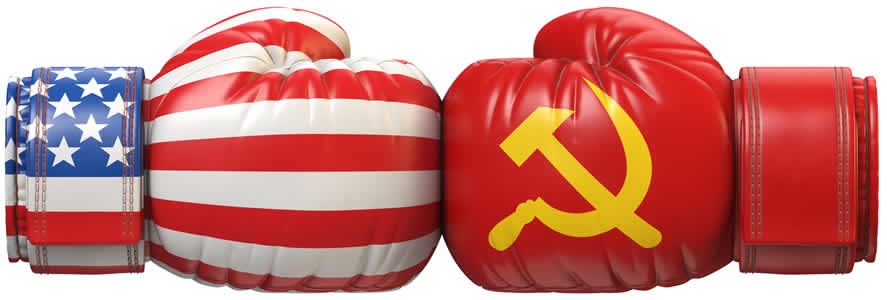 two boxing gloves hitting each other, one decorated with the American flag and one with the Soviet flag