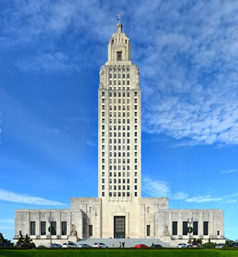 photograph of the Louisiana capitol building, which has a very tall office tower