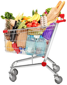 a shopping cart full of groceries