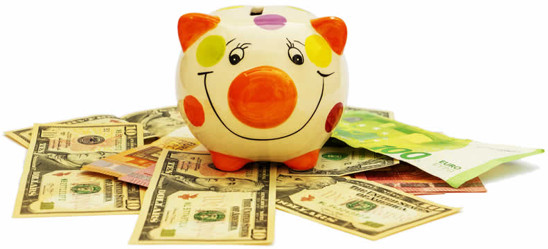 a piggy bank sitting on top of a pile of dollar bills