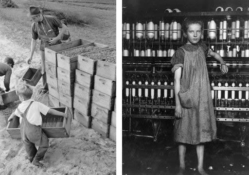 Photograph of very young boys helping haul crates of fruit; young girl in smock standing alongside mill machinery