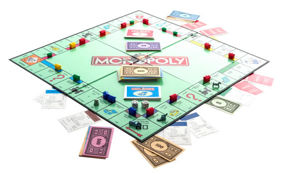 An image of a Monopoly game in play