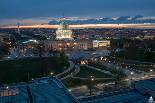 photograph of the Capitol building at night