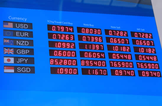 digital board showing the exchange rate for different currencies