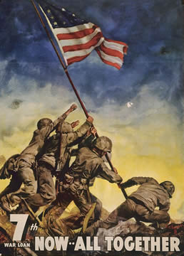 poster showing U.S. soldiers raising the American flag at Iwo Jima