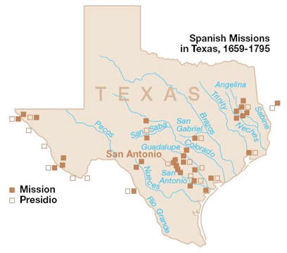 Map of the Spanish Missions in Texas, 1659–1795