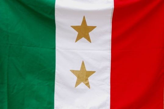 a flag with green, white, and red vertical stripes and two gold stars in the center