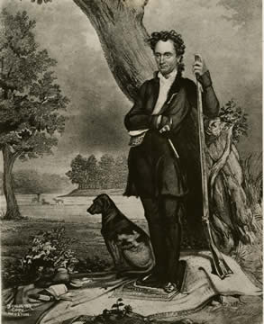 a portrait of Austin holding a rifle with a dog at this side