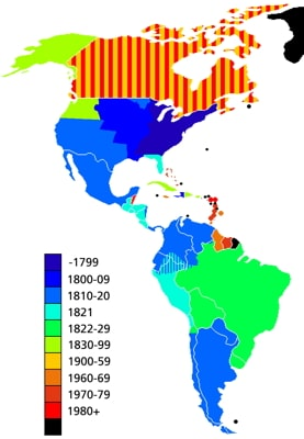 a map of the Americas showing when each colony gained independence