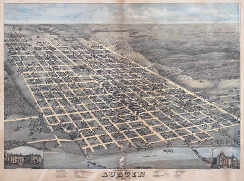 an old map showing downtown Austin as a grid of streets, with the Colorado River in the foreground