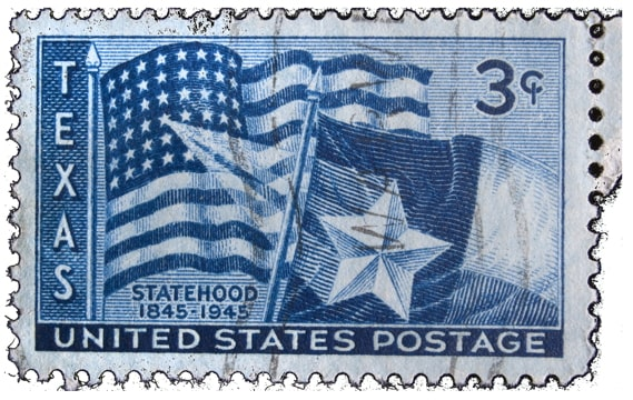 U.S. postage stamp of the Texas flag and the caption: Statehood 1845-1945