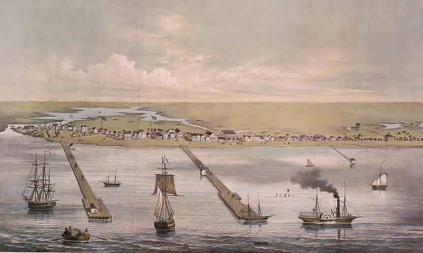 print of ships entering the port of a small town