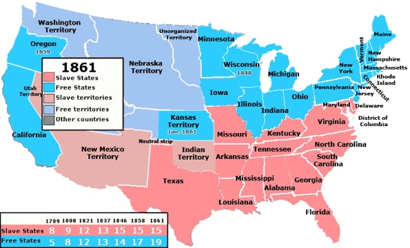 Map showing the free states and the slave states in 1861