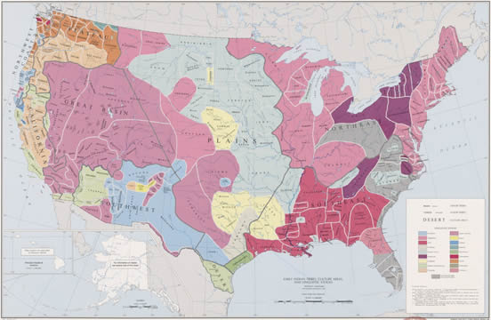 U.S. map showing the major locations of Native American tribes