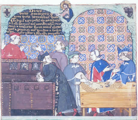 A medieval print of a group of men involved in money lending