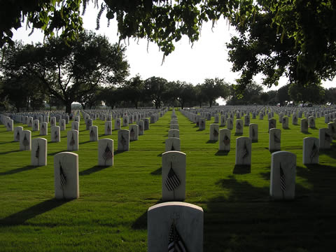 Headstones in a cemetery; each one has a small U.S. flag