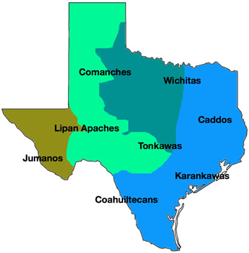 Texas map showing the locations of eight major tribes