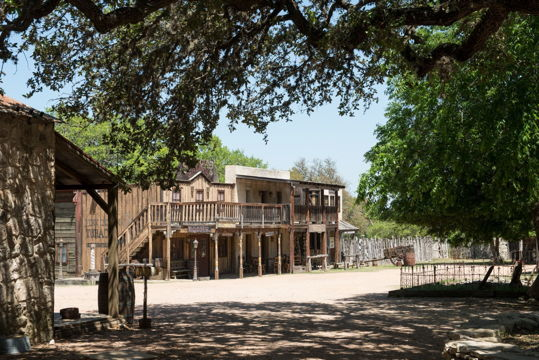 Wooden buildings in the style of the Old West