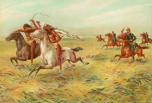 painting of Anglos in uniforms chasing Indians, everyone is on horses